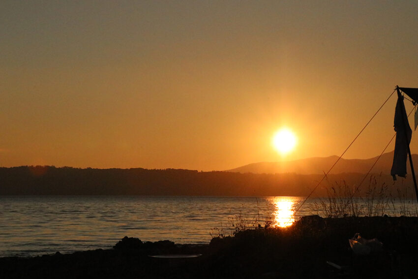仲洞爺キャンプ場の夕日